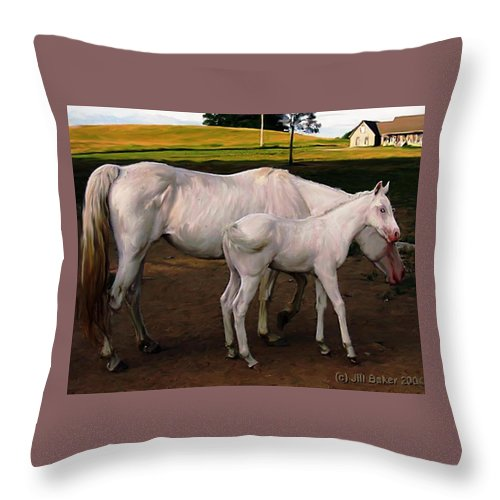 White Horses Throw Pillow featuring the painting White Baby Horse by Jill Baker