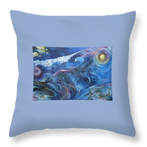 Baby Lambs Throw Pillow featuring the painting White Baby Lambs Of Peaceful Nights by Karina Ishkhanova