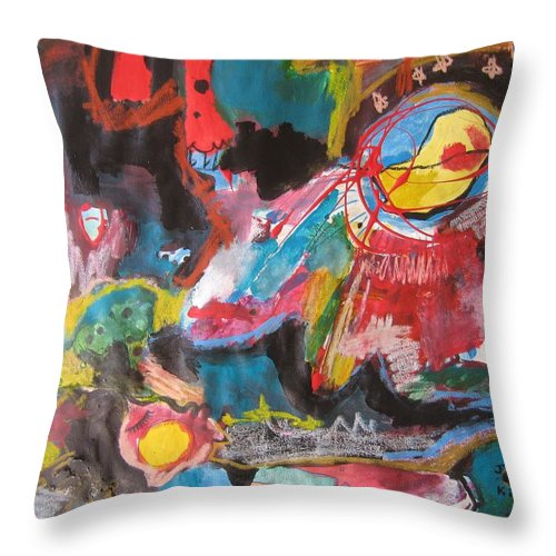 Original Throw Pillow featuring the painting White Bay by Seon-Jeong Kim
