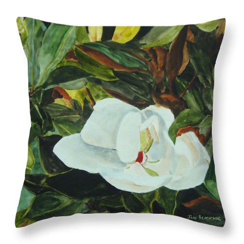 Flower Throw Pillow featuring the painting White Beauty by Jean Blackmer