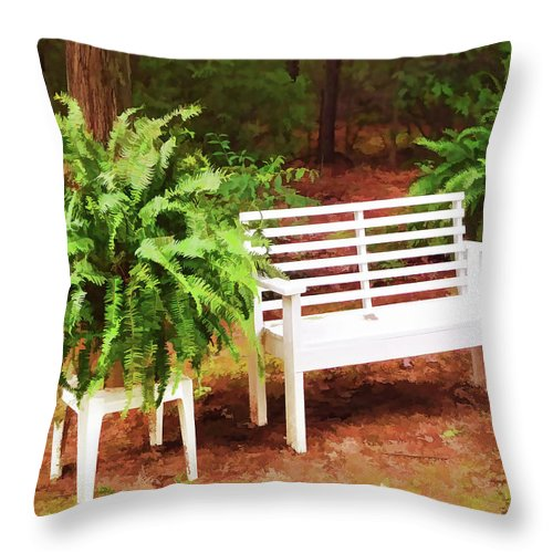 White Bench Sitting In A Beautiful Garden Throw Pillow featuring the painting White Bench Sitting In A Beautiful Garden 2 by Jeelan Clark