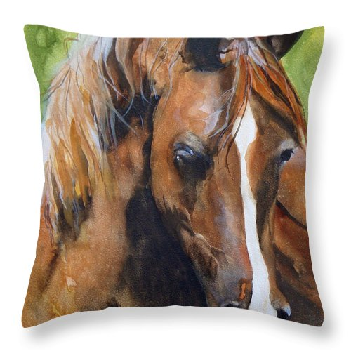 Horse Throw Pillow featuring the painting White Blaze by Jean Blackmer