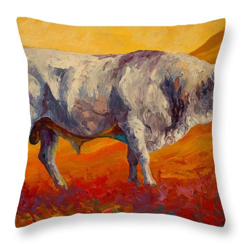 Cows Throw Pillow featuring the painting White Bull by Marion Rose