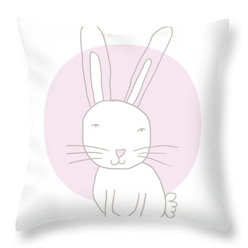 Bunny Throw Pillow featuring the mixed media White Bunny On Pink- Art By Linda Woods by Linda Woods