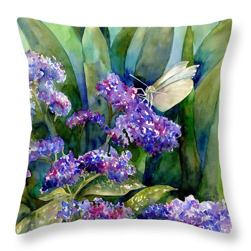White Throw Pillow featuring the painting White Butterfly by Amy Kirkpatrick