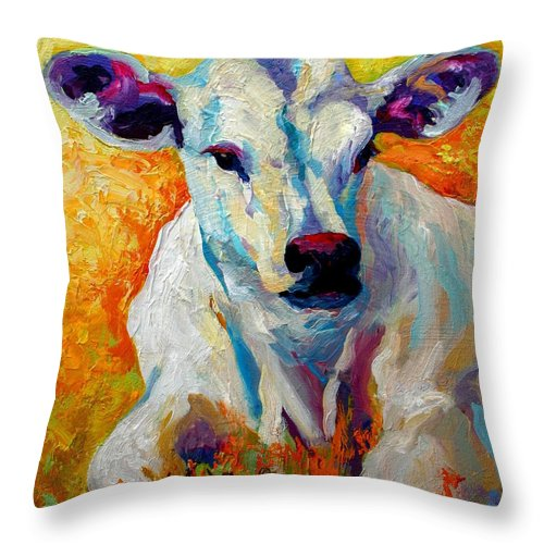 Western Throw Pillow featuring the painting White Calf by Marion Rose