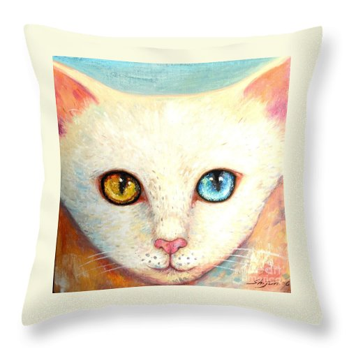 Portrait Throw Pillow featuring the painting White Cat by Shijun Munns