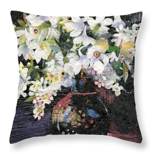 Limited Edition Prints Throw Pillow featuring the painting White Celebration by Nira Schwartz