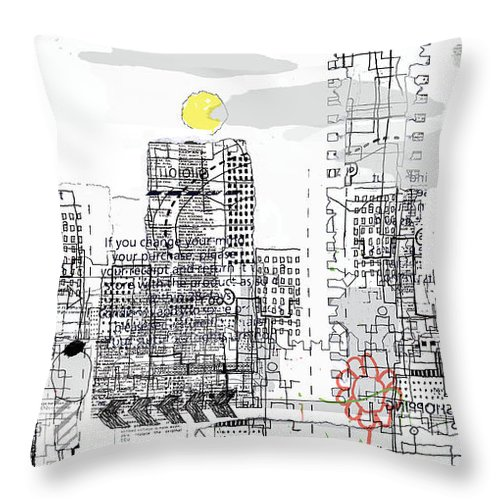 Line Throw Pillow featuring the digital art White City by Andy Mercer