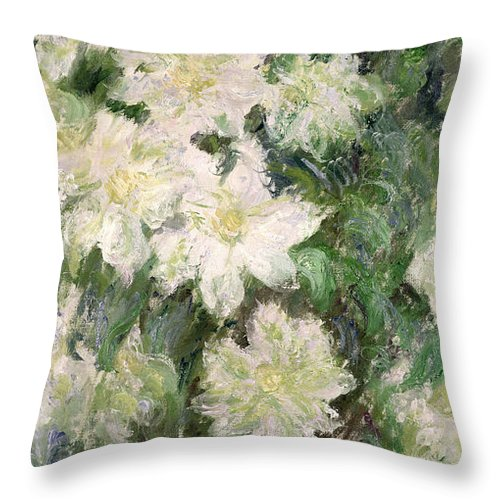 White Clematis Throw Pillow featuring the painting White Clematis by Claude Monet