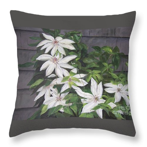 Floral Throw Pillow featuring the painting White Clematis by Elizabeth Ellis