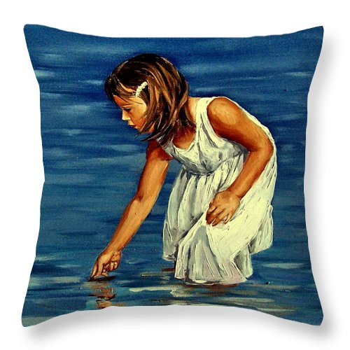 Girl Throw Pillow featuring the painting White Dress by Natalia Tejera