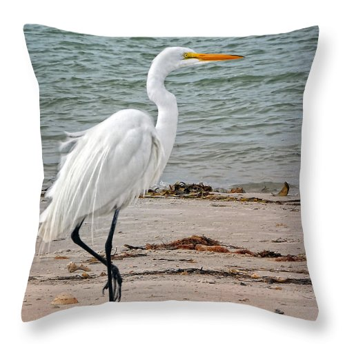 Egret Throw Pillow featuring the photograph White Egret On Beach by Peg Runyan