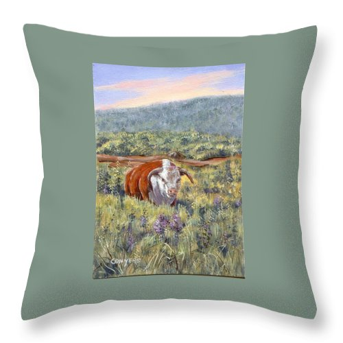 Hereford Bull Throw Pillow featuring the painting White Face Bull by Peggy Conyers
