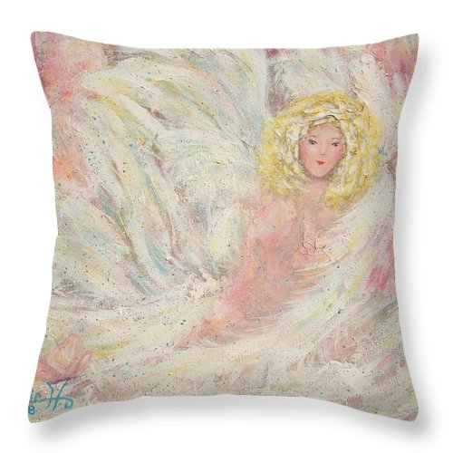 Angel Throw Pillow featuring the painting White Feathers Secret Garden Angel 4 by Natalie Holland