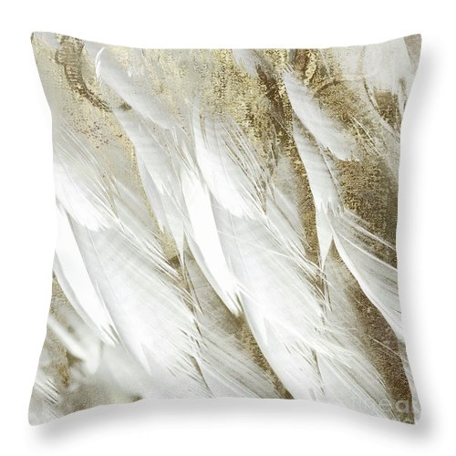 White Feathers With Gold Throw Pillow For Sale By Mindy Sommers