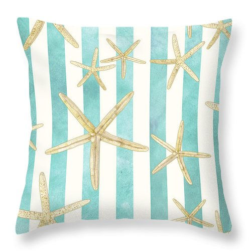 Watercolor Throw Pillow featuring the painting White Finger Starfish Watercolor Stripe Pattern by Audrey Jeanne Roberts