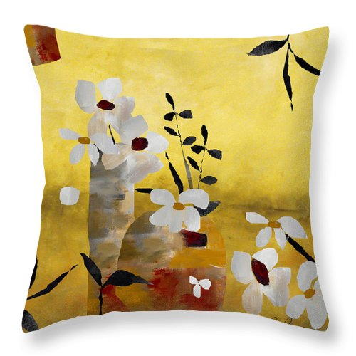 Abstract Throw Pillow featuring the painting White Floral Collage II by Ruth Palmer