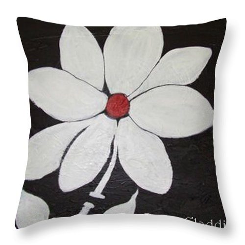 Contemporay Throw Pillow featuring the painting White Flower by Rusty Gladdish