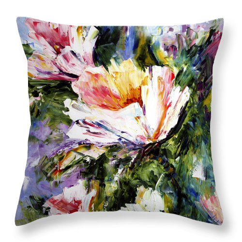 White Flowers Throw Pillow featuring the painting White Flowers by Laurie Pace