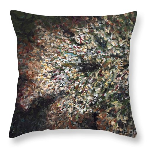 Flowers Throw Pillow featuring the painting White Flowers On Bald Head by Nadine Rippelmeyer