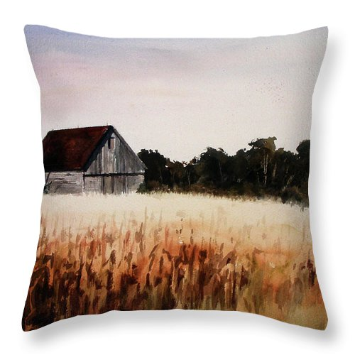 Landscape Throw Pillow featuring the painting White For Harvest by Rachel Christine Nowicki