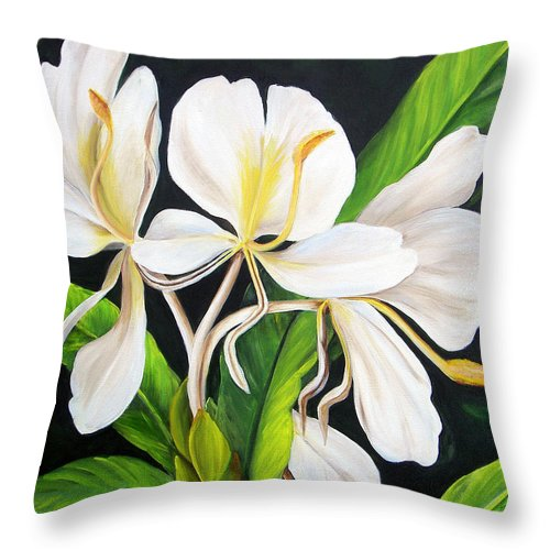 Floral Throw Pillow featuring the painting White Ginger by Dominica Alcantara