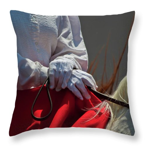 Rodeo Throw Pillow featuring the photograph White Gloves by Roger Mullenhour