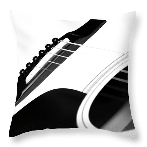 Guitar Throw Pillow featuring the photograph White Guitar 10 by Andee Design