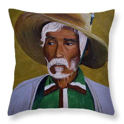 Brian Wallace Throw Pillow featuring the painting White Haired Man - 2d by Brian Wallace