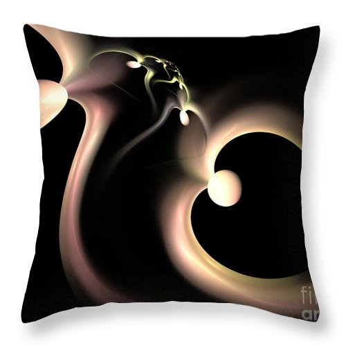 Fractal Throw Pillow featuring the digital art White Heart In Abstract by Deborah Benoit