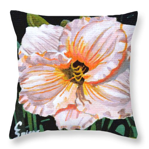 White Throw Pillow featuring the painting White Hibiscus by Christopher Spicer
