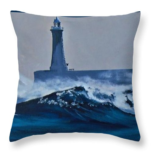 Tynemouth Throw Pillow featuring the painting White Horses by Terence R Rogers