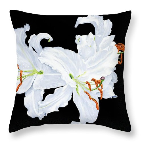 Lilies Throw Pillow featuring the painting White Lilies by Frank Hamilton
