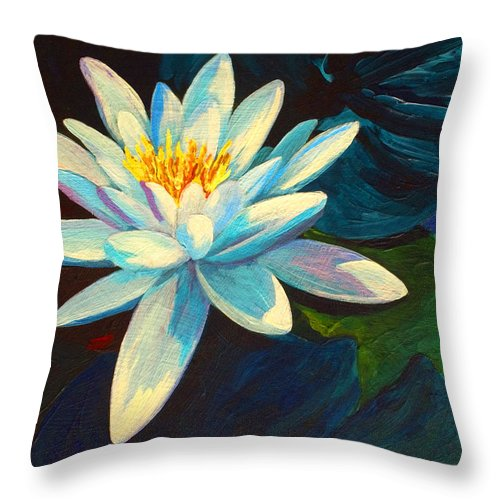 Water Lily Throw Pillow featuring the painting White Lily IIi by Marion Rose