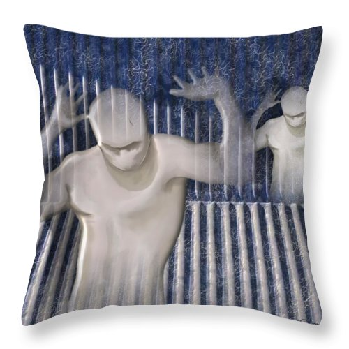 Drugs Prison Waste Fear Hell Throw Pillow featuring the mixed media White Lines by Veronica Jackson
