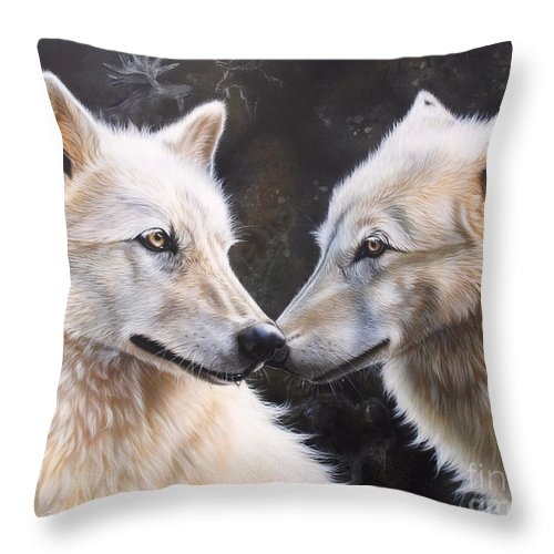 Acrylic Throw Pillow featuring the painting White Magic by Sandi Baker