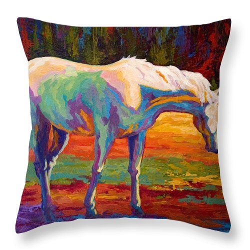 Horses Throw Pillow featuring the painting White Mare II by Marion Rose