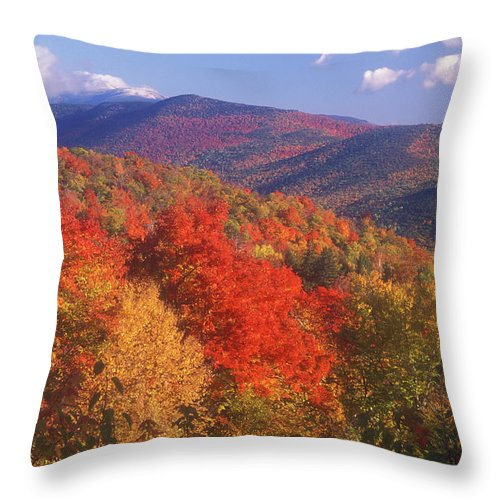 Autumn Throw Pillow featuring the photograph White Mountain Foliage Bear Notch by John Burk