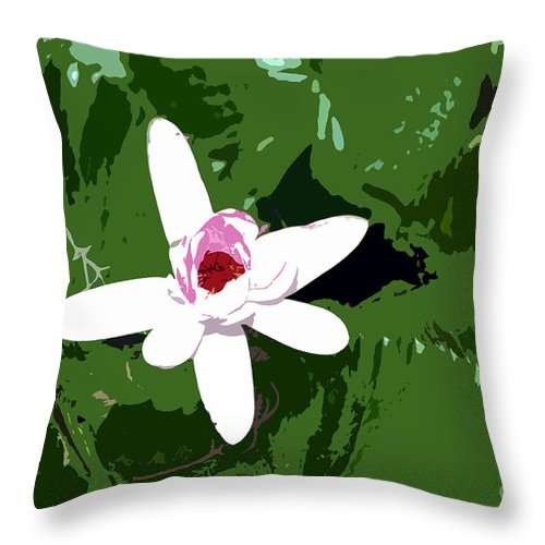 Flower Throw Pillow featuring the photograph White On Green Work Number 7 by David Lee Thompson