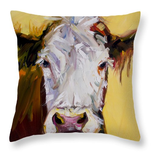 Cow Throw Pillow featuring the painting White One by Diane Whitehead