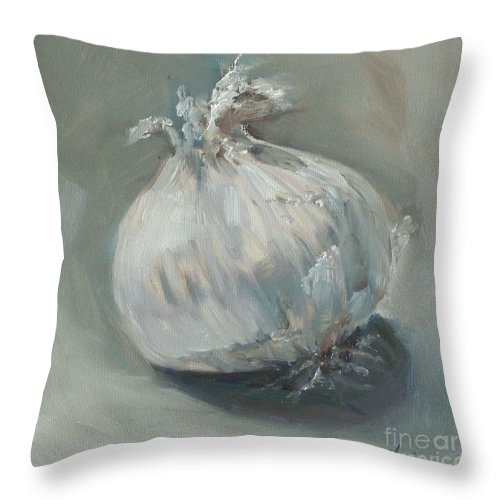 Onion Throw Pillow featuring the painting White Onion No. 1 by Kristine Kainer
