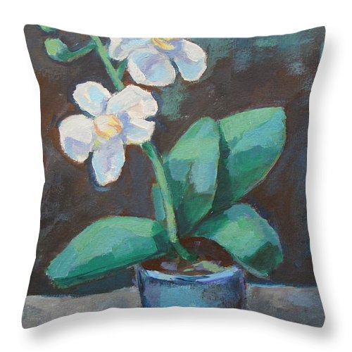 Throw Pillow featuring the painting White Orchid by Alfons Niex