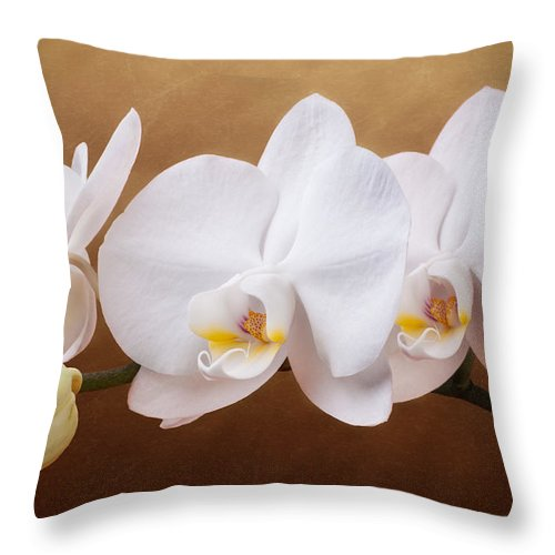 Art Throw Pillow featuring the photograph White Orchid Flowers And Bud by Tom Mc Nemar
