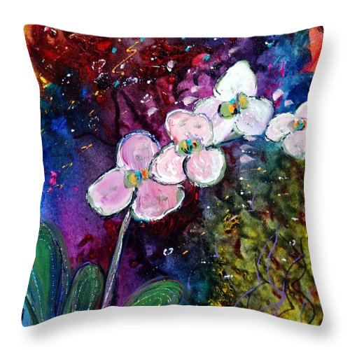 Flowers Throw Pillow featuring the painting White Orchid by Luiza Vizoli