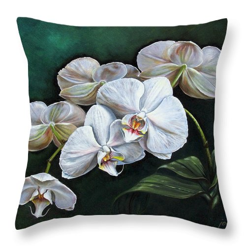 Orchid Throw Pillow featuring the painting White Orchids by Joan Garcia