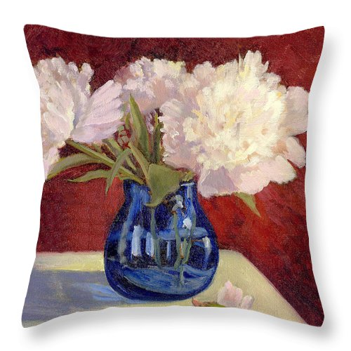 Peonies Throw Pillow featuring the painting White Peonies by Keith Burgess