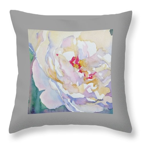 Floral Watercolor Floral Rose Throw Pillow featuring the painting White peony by Jo Mackenzie