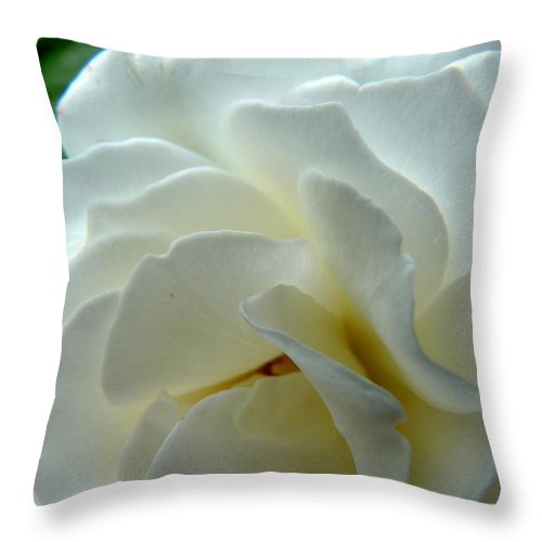 Rose Throw Pillow featuring the photograph White Petals by Valerie Ornstein