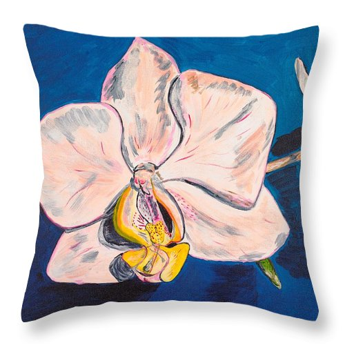 Flower Throw Pillow featuring the painting White Phalaenopsis Orchids by Valerie Ornstein